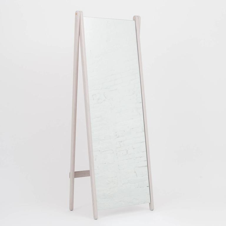 Contemporary Asa Pingree Libertine Mirror in Ebonized Oak, American Walnut and Fog Gray Ash For Sale