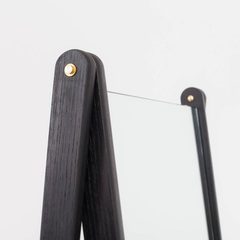 Asa Pingree Libertine Mirror in Ebonized Oak, American Walnut and Fog Gray Ash For Sale 3