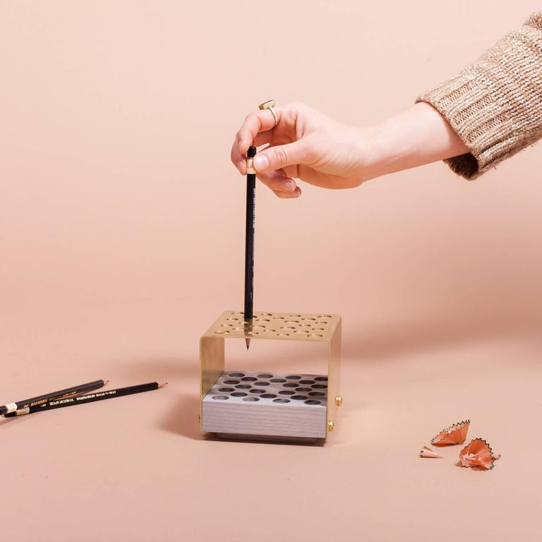 American Asa Pingree Physalia Pencil Holder in Walnut, Ebonized Maple, or Fog Gray Ash For Sale