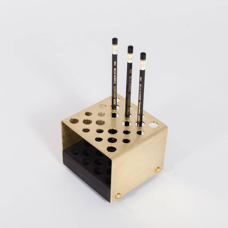 American Modern Asa Pingree Physalia Pencil Holder in Walnut, Ebonized Maple, or Fog Gray Ash For Sale