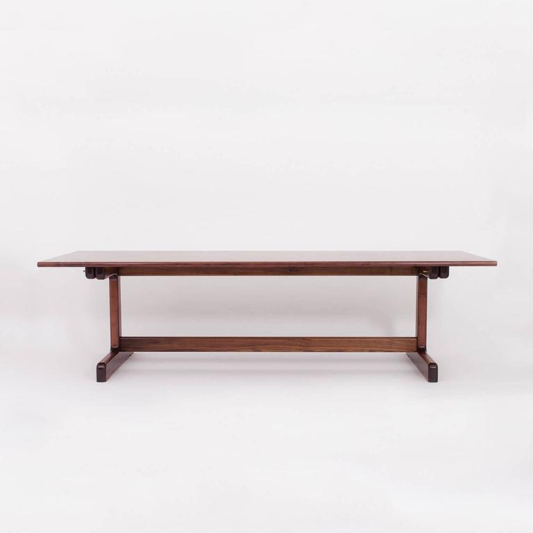 American Modern Physalia LP Dining Table, Low Profile Foot in American Walnut For Sale