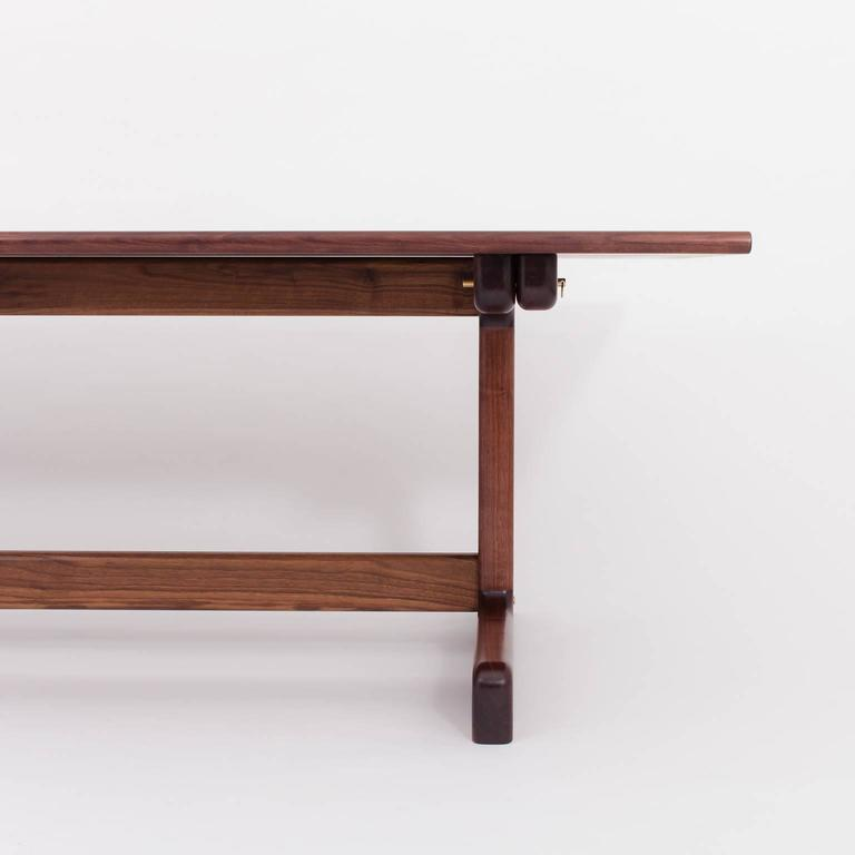 Contemporary Physalia LP Dining Table, Low Profile Foot in American Walnut For Sale