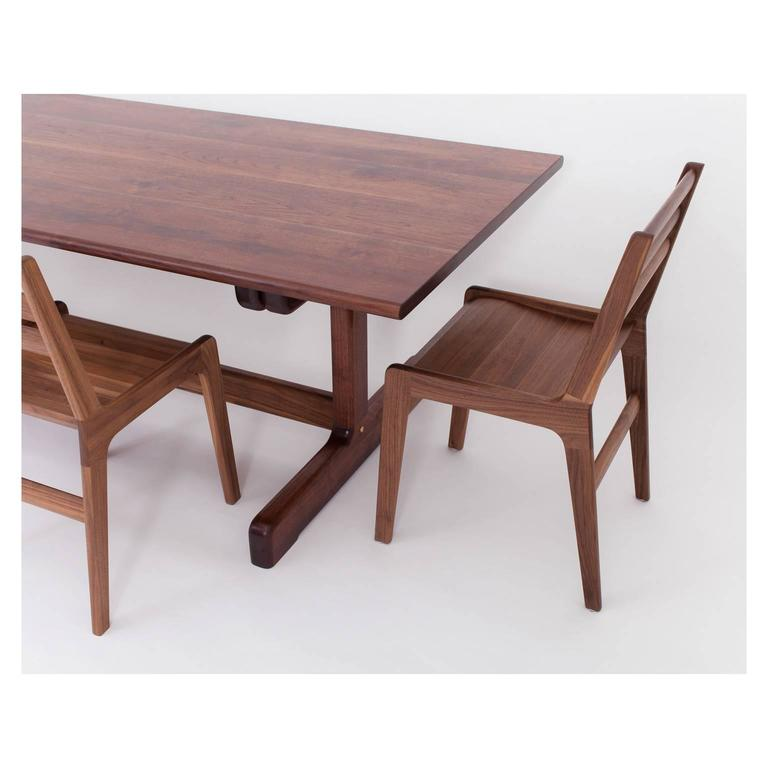 Physalia LP Dining Table, Low Profile Foot in American Walnut For Sale 1
