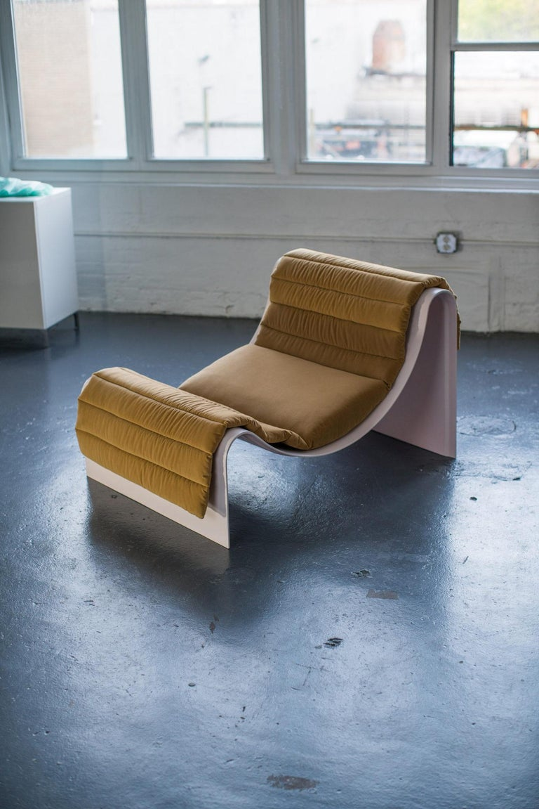 The Knockabout lounge is a piece that drapes radiuses over a sling chair form that feels relaxing just to look at. The experience physically is similar; sinking into a deep repose is immediate and unavoidable. The chair can even accommodate two if