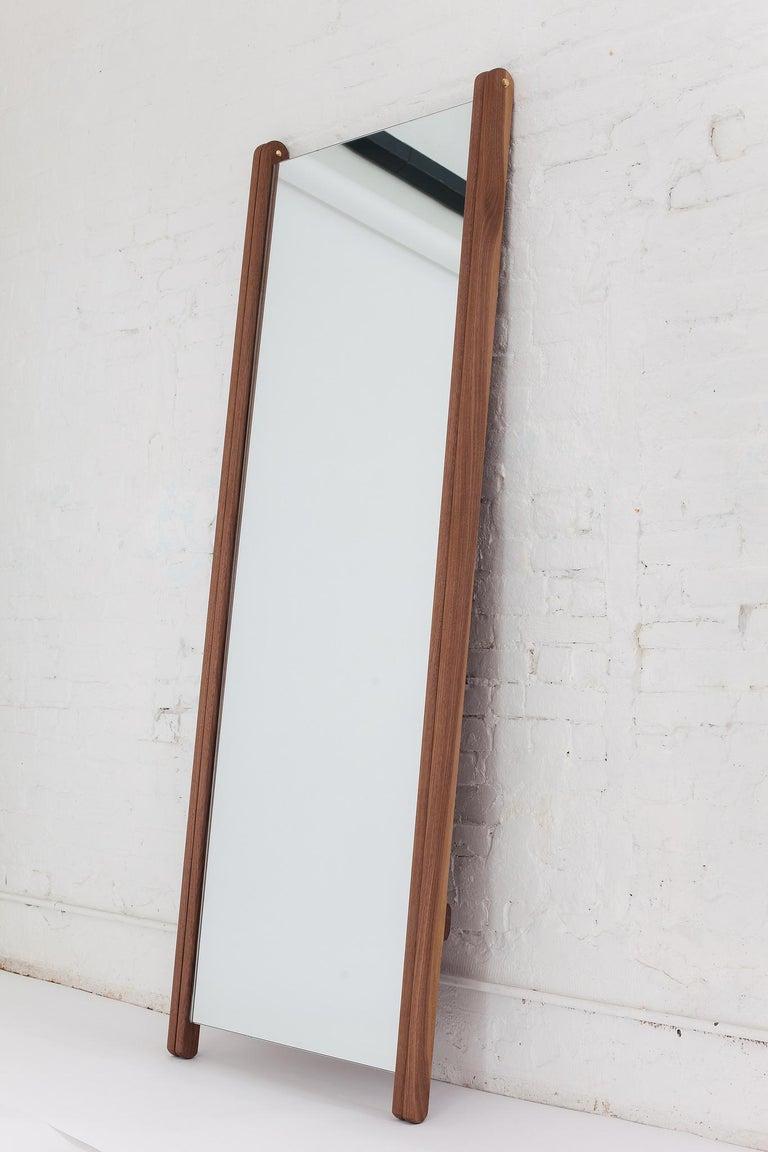Contemporary 'Libertine' Full Length Mirror in American Walnut For Sale