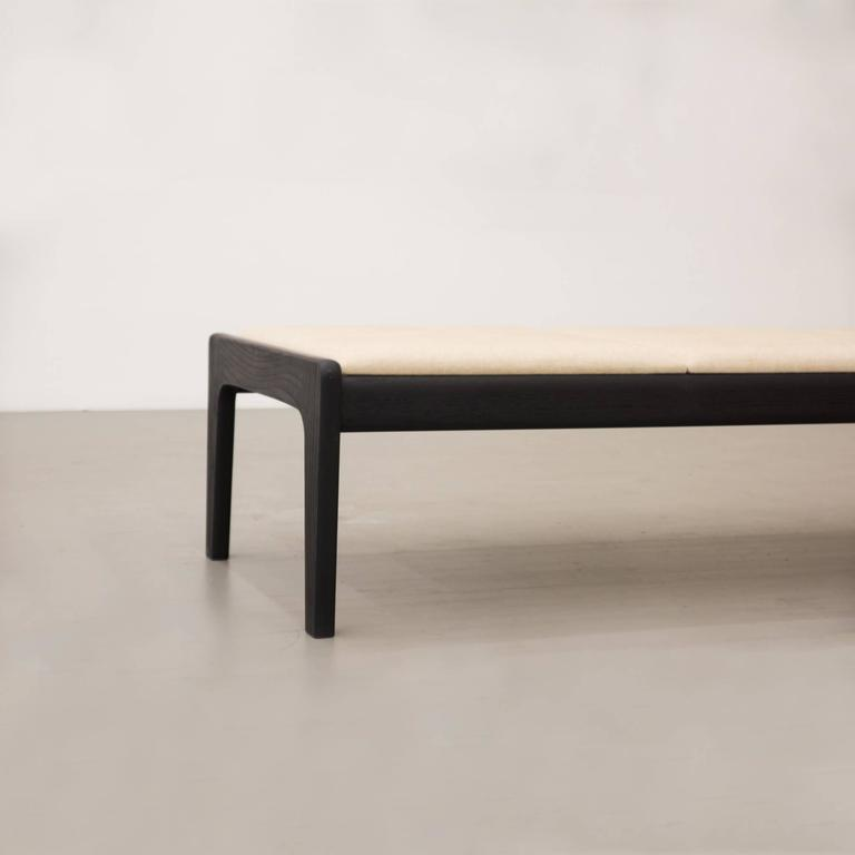 Canvas Asa Pingree Lapwing Bench in Ebonized Oak For Sale