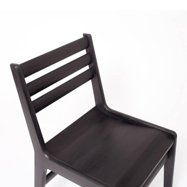 Contemporary 'Fenelon' Wood Chair in Ebonized Maple - Black For Sale