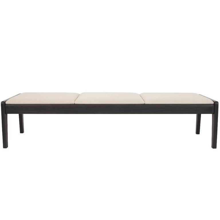 Asa Pingree Upholstered Lapwing Bench in Ebonized Oak