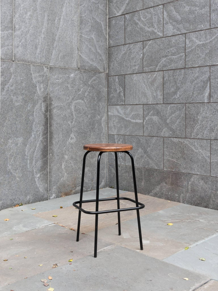 Steven Bukowski Flora Coffee Stool in Walnut and Powder Coated Steel In New Condition For Sale In Brooklyn, NY