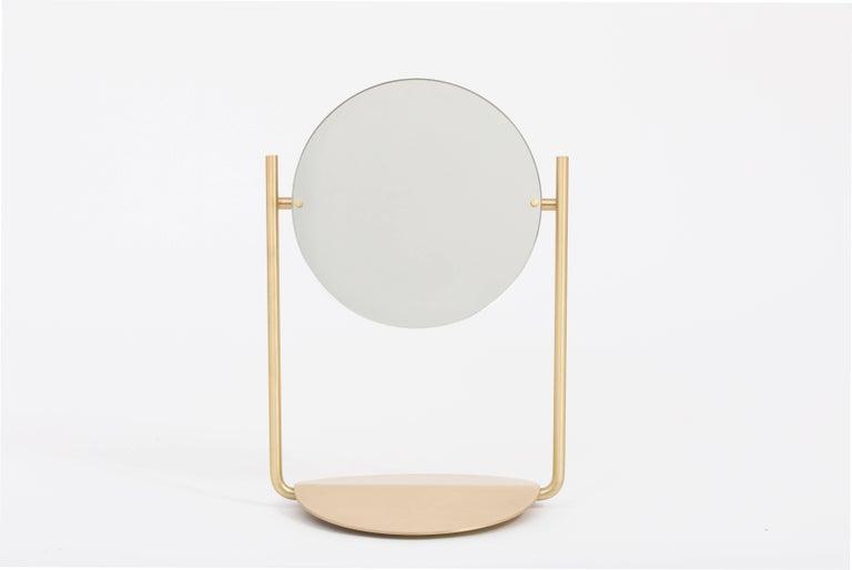 Steven Bukowski Harp Vanity Mirror in Satin Brass or Zinc Chromate For Sale 2