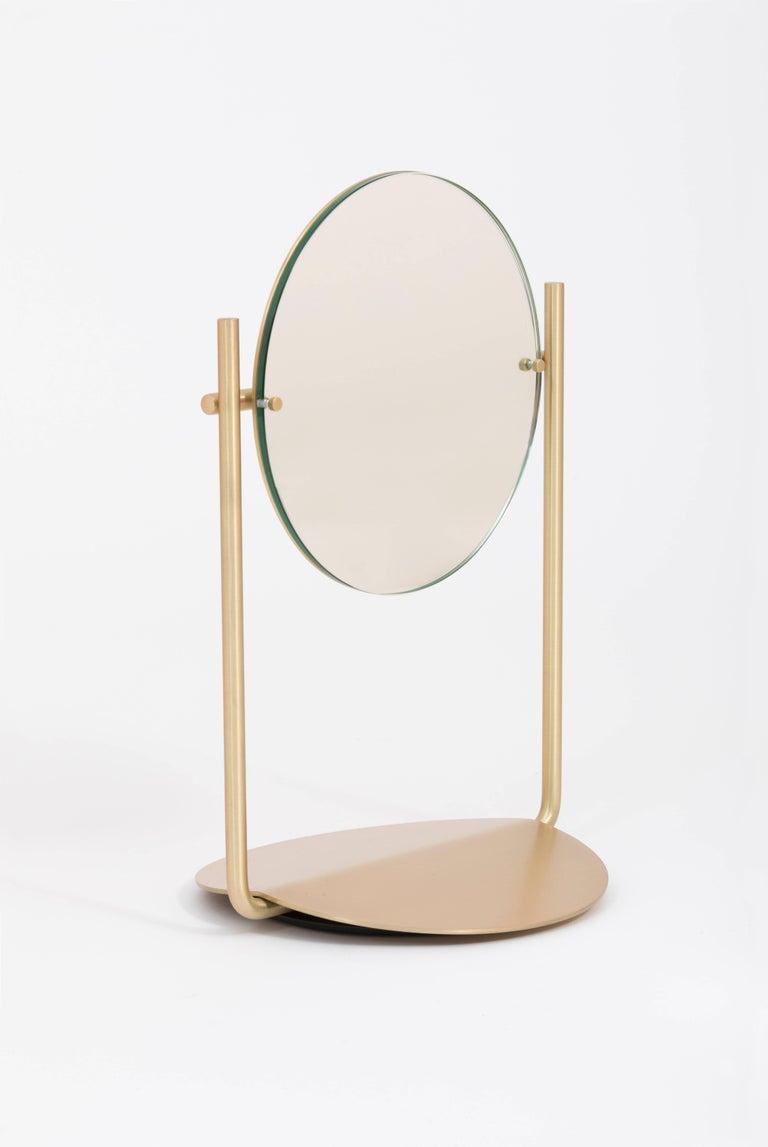 Steven Bukowski Harp Vanity Mirror in Satin Brass or Zinc Chromate For Sale 3