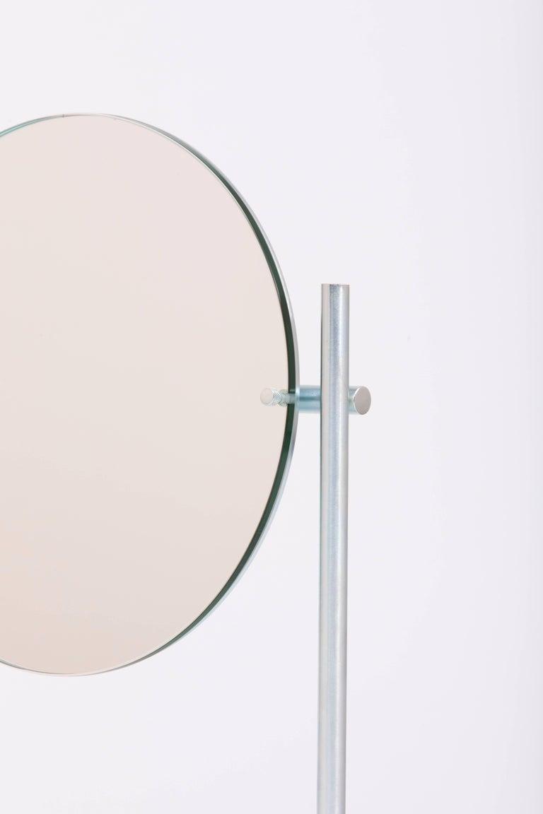 Modern Steven Bukowski Harp Vanity Mirror in Satin Brass or Zinc Chromate For Sale