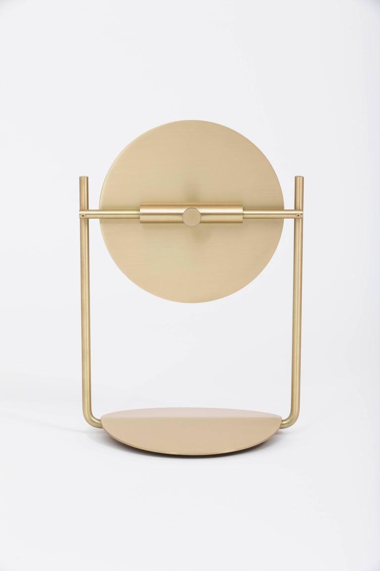 Contemporary Steven Bukowski Harp Vanity Mirror in Satin Brass or Zinc Chromate For Sale