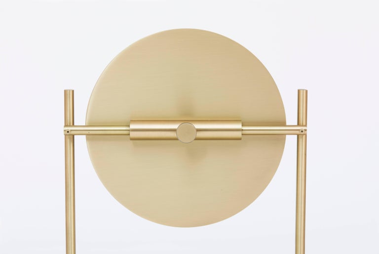Steven Bukowski Harp Vanity Mirror in Satin Brass or Zinc Chromate For Sale 1