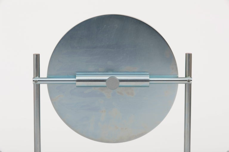 American Steven Bukowski Harp Vanity Mirror in Satin Brass or Zinc Chromate For Sale