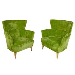 Striking Pair of Lime Green Crushed Velvet Lounge Chairs