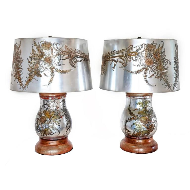 Stunning Pair of Verre Eglomise Table Lamps with Original Shades