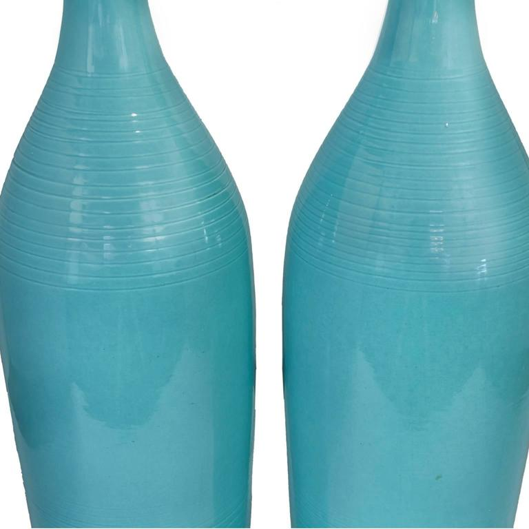American Beautiful Pair of Turquoise Blue Ceramic Mid-Century Lamps with Original Shades For Sale