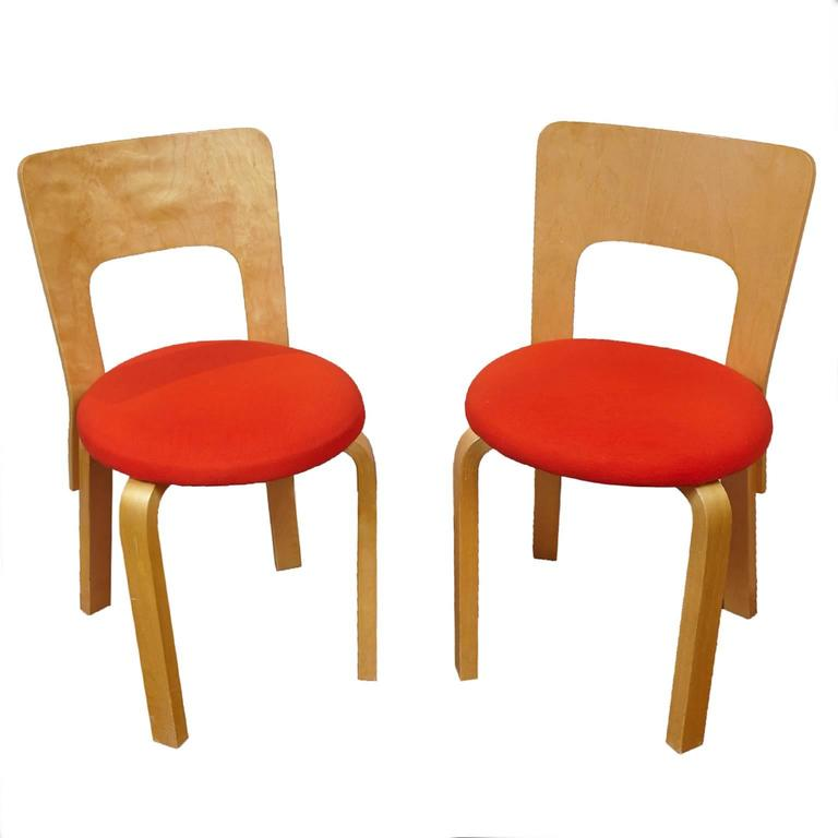 Pair of Vintage Alvar Aalto Chairs with Vibrant Orange Upholstered Seats