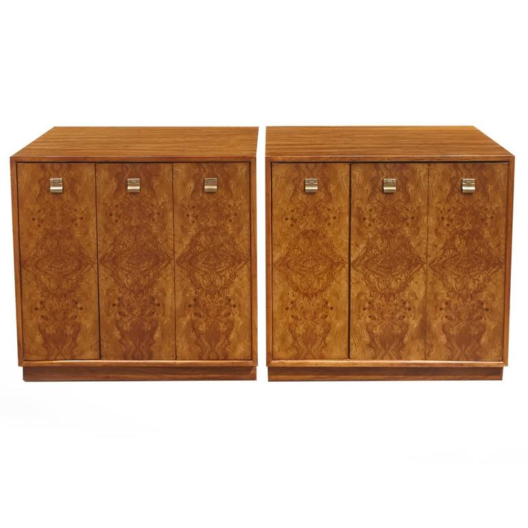 Pair Of Edward Wormley Burl Wood Cabinets For Drexel Precedent 1