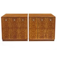 Pair of Edward Wormley Burl Wood Cabinets for Drexel Precedent