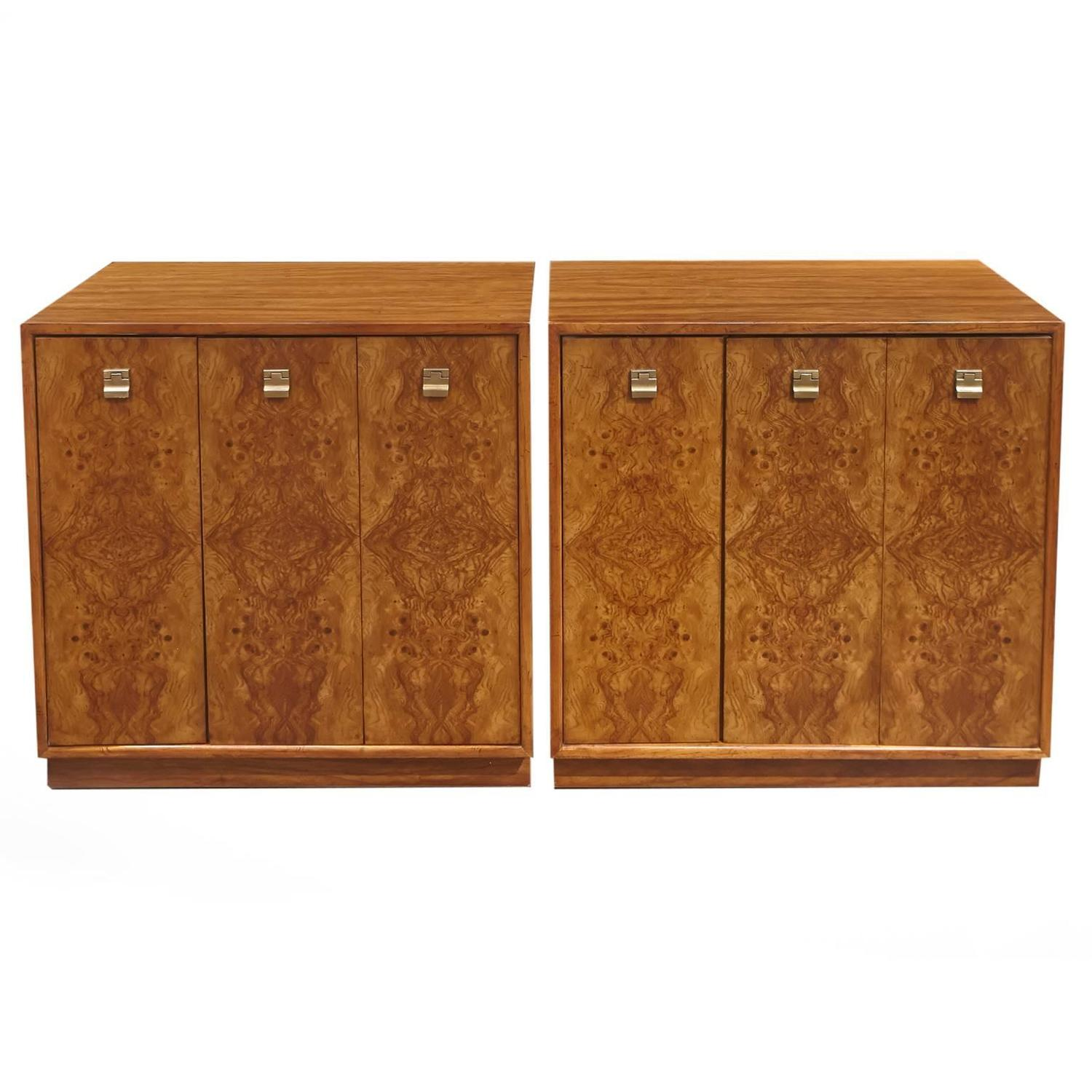 Pair of Edward Wormley Burl Wood Cabinets for Drexel Precedent - Drexel Heritage Furniture - 30 For Sale At 1stdibs