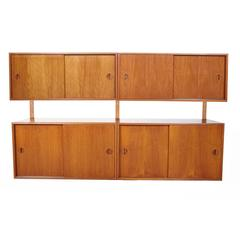 HG Furniture Danish Two-Cabinet Teak Floating Wall Unit
