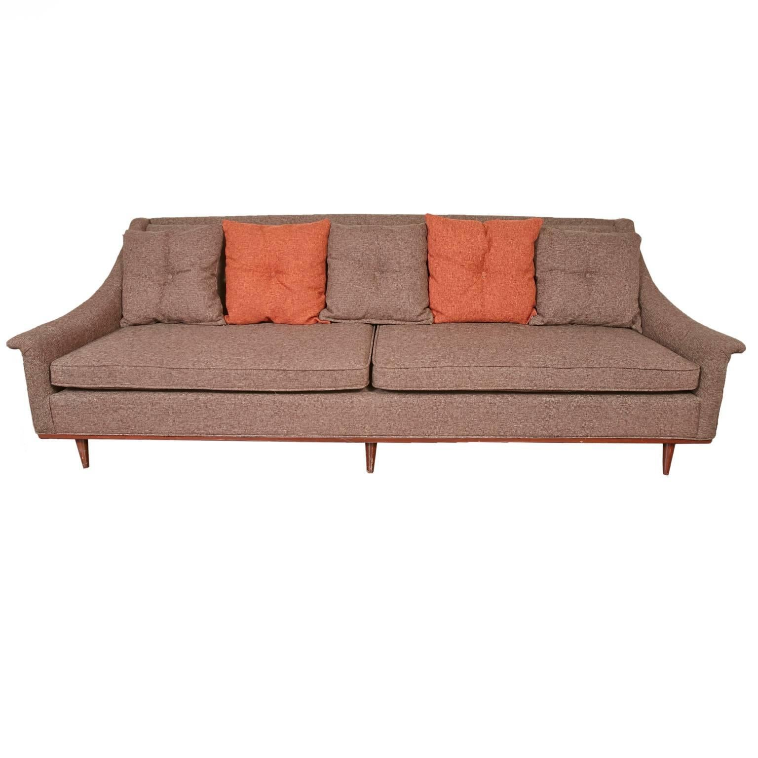 Selig Monroe Mid Century Modern Brown Textured Sofa For Sale
