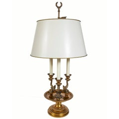 Paul Hanson Three Dolphin Brass Table Lamp