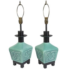Pair of Turquoise Green, Asian Inspired Table Lamps with Dragons