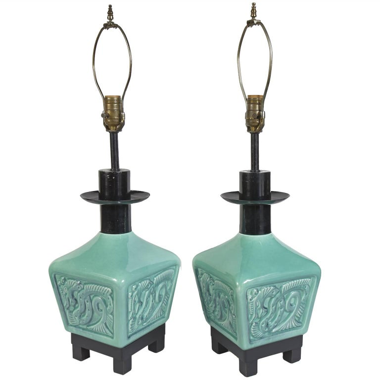 Pair of turquoise green asian inspired table lamps with dragons pair of turquoise green asian inspired table lamps with dragons for sale aloadofball Image collections