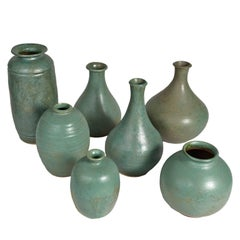Collection of Green Ceramic Studio Pottery