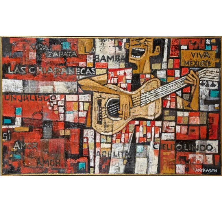 Large Oil on Canvas by Tucson, Arizona Artist, Eugene MacKaben, Guitar Player