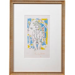 Jean Cocteau Colored Lithograph, Head of the Poet and Portrait of Arthur Rimbaud