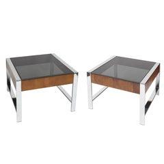 Pair of Mid-Century Modern Chrome, Walnut Veneer and Smoke Glass End Tables