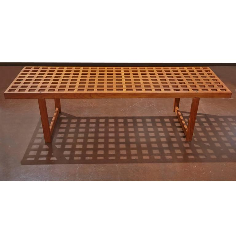 Danish modern Lovig Nielsen slat bench could be used as a coffee table. Has Lovig sticker on end bench.
