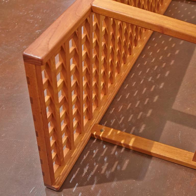 Danish Mid-Century Modern Slat Teak Bench/Coffee Table by Lovig Nielsen, Denmark For Sale