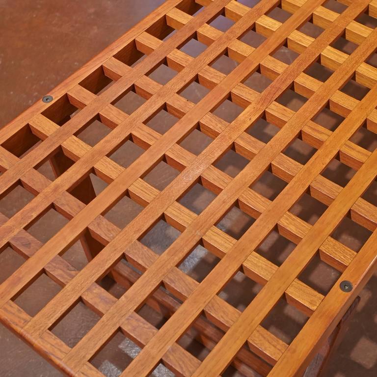 20th Century Mid-Century Modern Slat Teak Bench/Coffee Table by Lovig Nielsen, Denmark For Sale