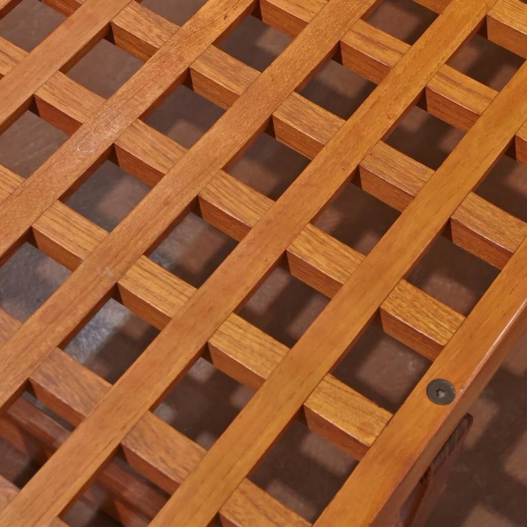 Mid-Century Modern Slat Teak Bench/Coffee Table by Lovig Nielsen, Denmark For Sale 1