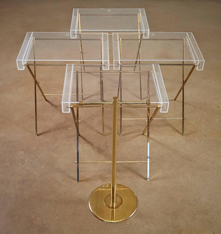 Mid-Century Modern Charles Hollis Jones Clear Lucite and Brass Trays with Brass Stand For Sale