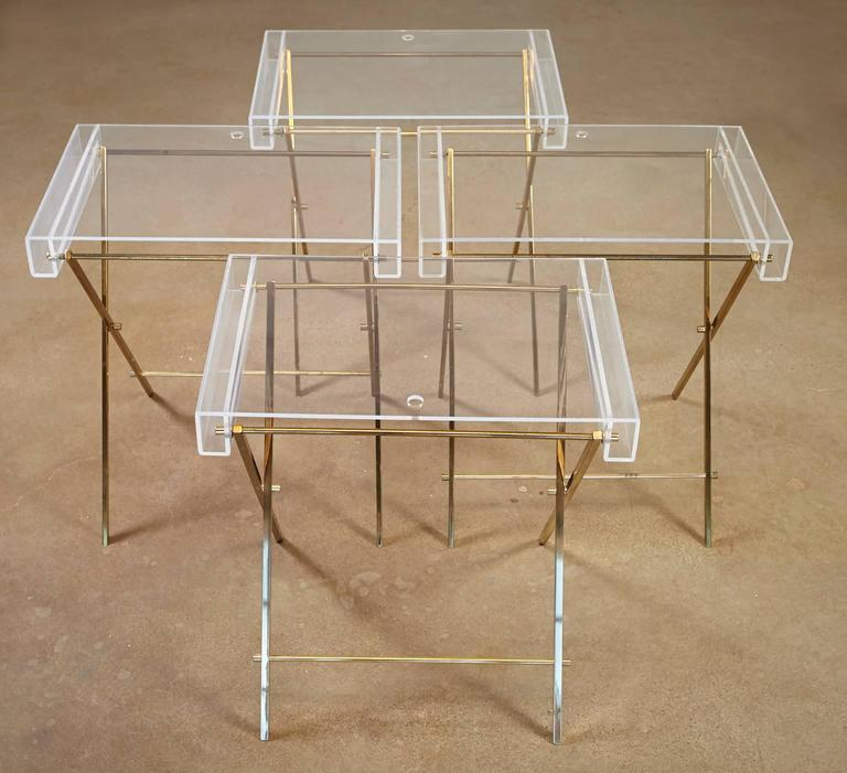 American Charles Hollis Jones Clear Lucite and Brass Trays with Brass Stand For Sale
