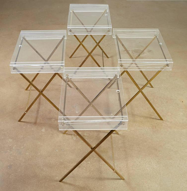 20th Century Charles Hollis Jones Clear Lucite and Brass Trays with Brass Stand For Sale