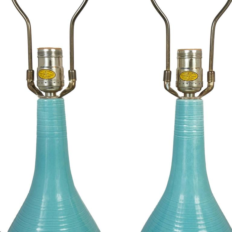 Mid-Century Modern Beautiful Pair of Turquoise Blue Ceramic Mid-Century Lamps with Original Shades For Sale