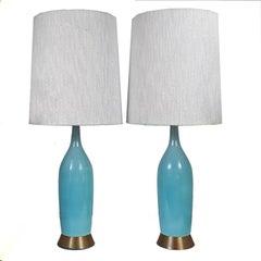Beautiful Pair of Turquoise Blue Ceramic Mid-Century Lamps with Original Shades