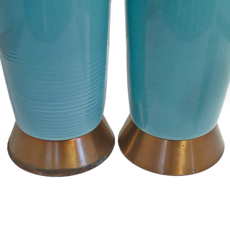 Beautiful Pair of Turquoise Blue Ceramic Mid-Century Lamps with Original Shades In Good Condition For Sale In Tucson, AZ