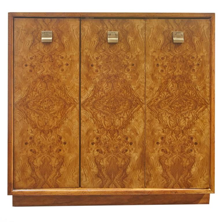 American Pair Of Edward Wormley Burl Wood Cabinets For Drexel Precedent For  Sale