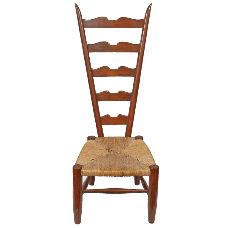 Pair Of Vintage Ladder Back Chairs With Low Rush Seat For