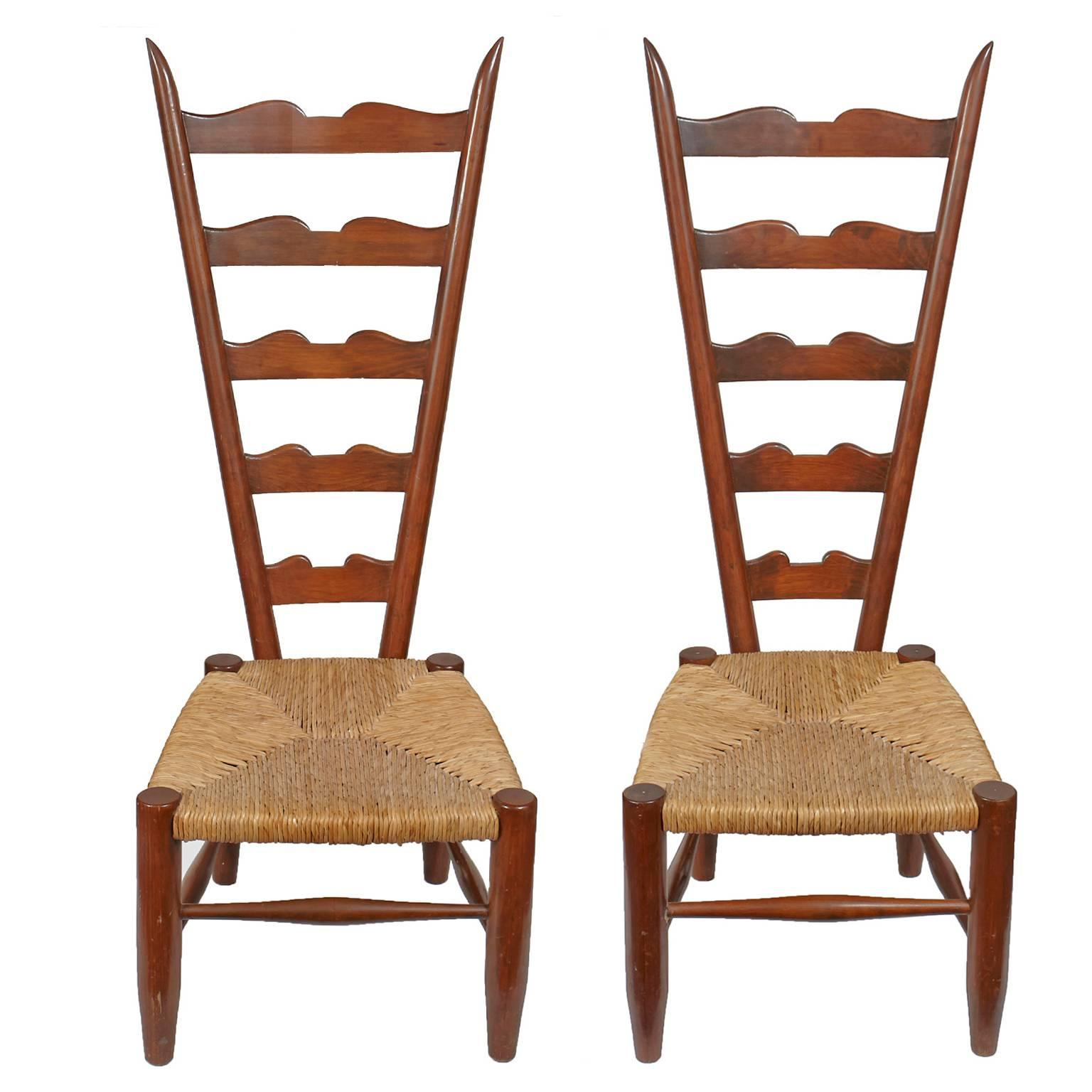 Pair Of Vintage Ladder Back Chairs With Low Rush Seat For Sale