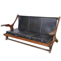 Don Shoemaker Leather and Cocobolo Wood Sofa