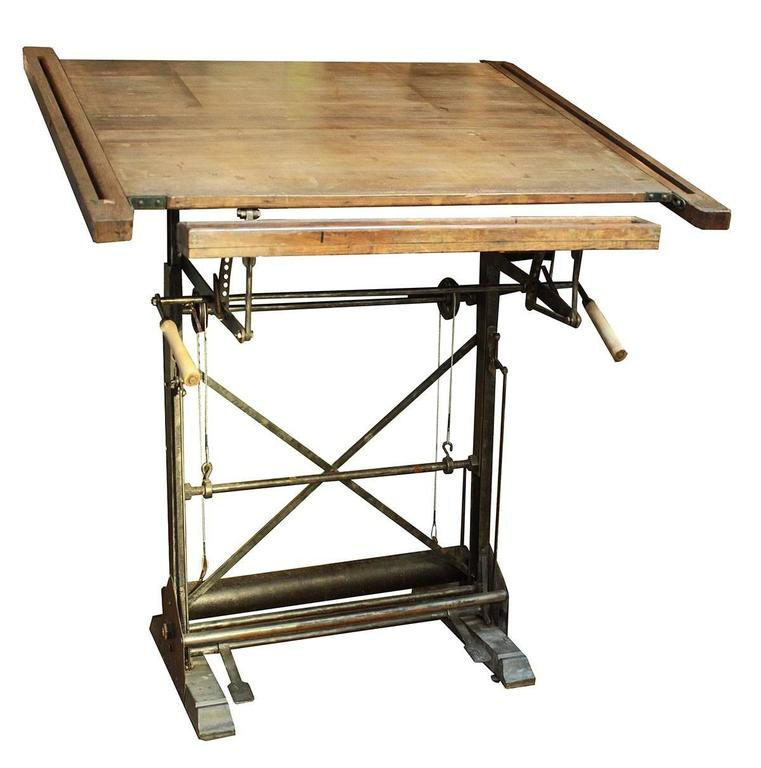 Beau Antique French Drafting Table For Sale